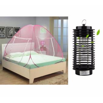 GMY Classic Queen Size Double Plain Mosquito Net (Pink) withElectric UV Mosquito Killer/Zapper Bug Fly Wasp Trap Pest