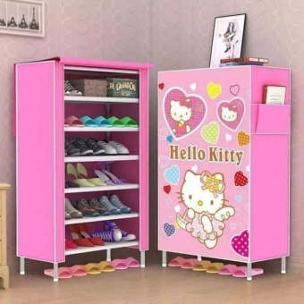 GMY High Quality 6 Layer 3D Folding Shoe Storage Hello Kitty - Pink