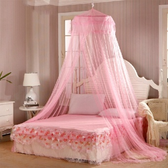 GMY Mosquito Net Bed Canopy King/Queen Size (Light Pink)