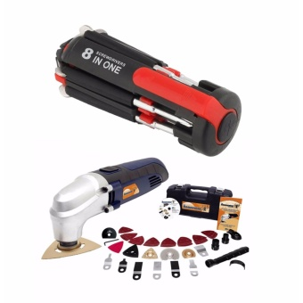 GMY Renovator Multi Kit Tools and 8 in 1 Multi-Screwdriver 3 LEDTorch Multifunction Portable Screwdriver - Black