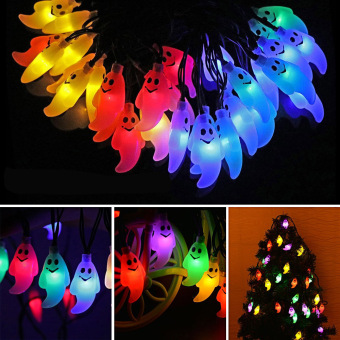 halloween 20 led ghost style solar powered waterproof outdoor led light string lights rope halloween - Solar Powered Christmas Wreath
