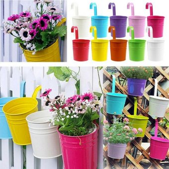 Hanging Balcony Garden Plant Planter Home Decor Metal Iron Flower Pot Green - Int'l - intl