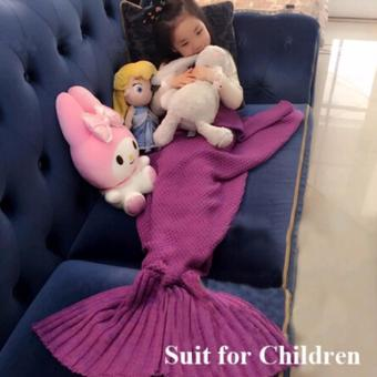 Hanyu Mermaid Tail Blanket Crochet Mermaid Blanket for Baby Infant Kids Sofa Quilt Living Room Bedroom Camping Warm Soft All Seasons Seatail Sleeping Bag Blanket Sleeping Throws 90 * 50cm (Violet) - intl