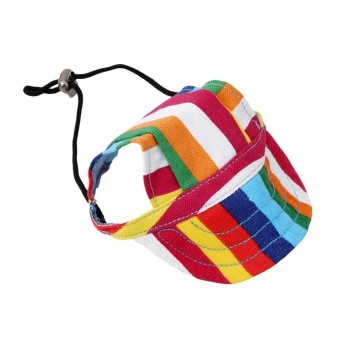 Hanyu Pet Baseball Cap Pet Dog Canvas Hat with Ear Holes Outdoor Hat Accessories M(Stripe) - intl