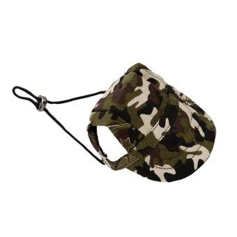 Hanyu Pet Baseball Cap Pet Dog Canvas Hat with Ear Holes OutdoorHat Accessories S(Camouflage) - intl