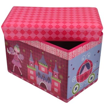 Happy Kids Foldable Ottoman Storage Box Chairs Princess Design(Pink)