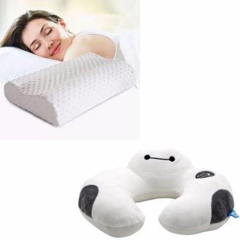 Health Care Sleep Slow Rebound Memory Foam Pillow Cervical (White) With Avengers U Shaped Travel Pillow Neck Support Head (White)