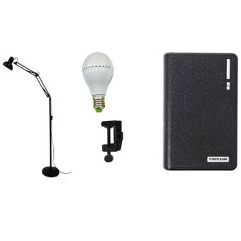 High Quality Adjustable Long Standing Floor Lamp (Black) With7-Watt LED bulb and Dssk Light Clip With Wallet Style Power Bank20000mAh