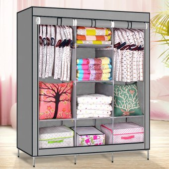 High Quality Multifunctional Wardrobe Storage Cabinet (Grey) Price Philippines