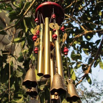High Quality Store New Magic 4 Tubes 5 Bells Copper Yard Garden Outdoor Living Wind Chimes 65cm