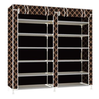 High Quality T-2712 Double Capacity 6 Layer Shoe Rack Shoe CabinetBlues Clues (Chocolate)