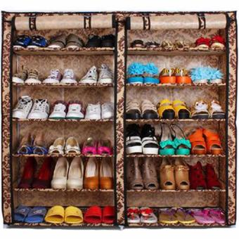 High Quality T-2712 Double Capacity 6 Layer Shoe Rack Shoe Cabinet(Leopard Graim)