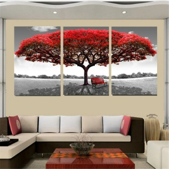 Home Living Paintings 50X70Cm Red Tree Modern Abstract Oil PaintingOn Canvas Art No Frame Home Wall Decoration - intl