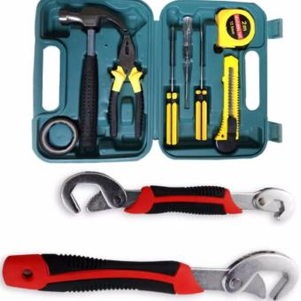 Home Package Gift Repair Home Tools Set 9 Pcs With Snap 'N GripUniversal Wrenches 2-piece Set (Black/Red)