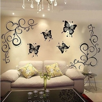 Home Room Wall Stickers Butterfly Vine DIY Removable Vinyl Decal Art Mural Decor - intl