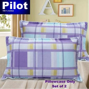 Hot Sale Pilot Bedding Pure Thick Cotton Fashion Print /ZipperDeluxe Hotel Home Resort Envelope Style Pillowcase Best Gift(Lavender Grid)with FREE Mini Notebook