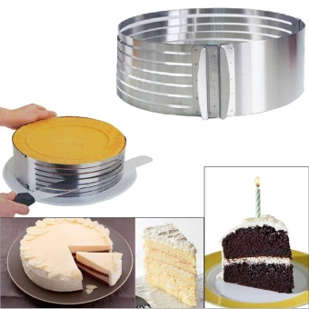 Household Stainless Steel Cake Slicer Mold Adjustable Circular Ring DIY Cake Layered Mould Kitchen Baking Tool - intl