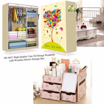 HS-6651 High Quality Cute 3D Design Wardrobe (Your Text HereLemonYellow) with Multifunction Wooden Drawer Style MakeupCosmetics Jewelry Storage Box Case Rack Organizer Light Pink(Floral Design)