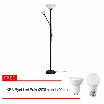 Ikea NOT Floor Up-lighter Lamp (Black) with Free 2 Ikea Ryet Led Bulb (400 im and 200 im)
