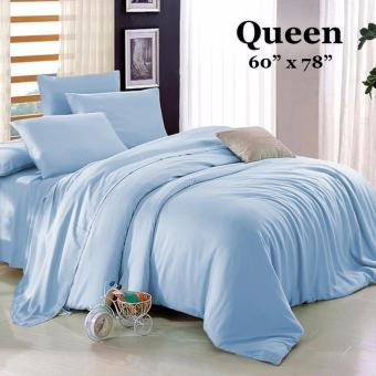 "Sleep Essentials 3-in-1 Fitted Sheets Plain Light Blue Bedsheet -Queen 60"" x 78"" Price Philippines"