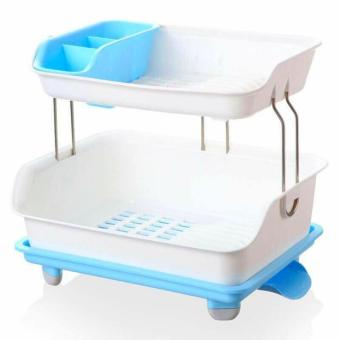 Harga New 2017 Best Quality 2 Layer Multifunctional Kitchen Dish Rack- Blue