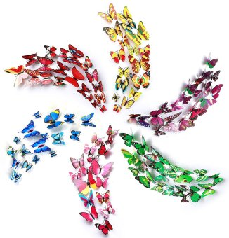 Posdou 72PCS 3D Butterfly Stickers - 6 Color Wall Stickers Crafts Butterflies with Sponge Gum and Safety Pins - intl Price Philippines