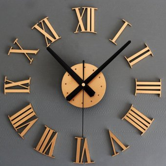 DIY Luxury 3D Wall Clock Large Size Home Decoration Art Clock (Gold) Price Philippines