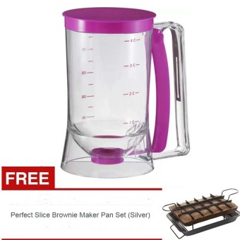 Harga Cake Batter Dispenser With Measuring Label with free Perfect Slice Brownie Maker Pan Set (Silver)
