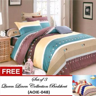 Harga Queen Classic Linen Collection Bedsheet Set of 3(AOIE-054)Queen with Free Queen Classic Linen Collection Bedsheet Set of 3(AOIE-048)Queen