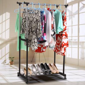 Harga J&A Homdox Foldable Clothes Drying Rack Double Pole Rail Rod Adjustable Outdoor Indoor Clothes Rack Hanger , with 4 360 degree wheels(2 with lock)