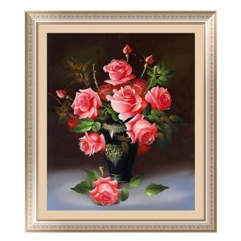 Harga 5D Rose Flower DIY Diamond Painting Cross Stitch Embroider Pink (Intl) - intl