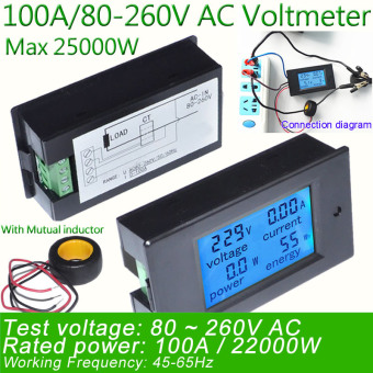 Digital AC Voltage Meters 100A/80~260V Power Energy analog Voltmeter Ammeter watt current Amps Volt meter LED Panel Monitor - intl Price Philippines