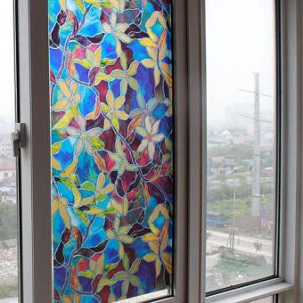 Self Adhesive PVC Color Orchid Window Film Private Protect Electrostatic Glass DIY Sticker - intl Price Philippines