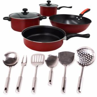 Harga Ai Shi Qi 568 6pcs. Set Non-Stick Pan (Black/Red) With 6-pc. Stainless Ladle (one set)