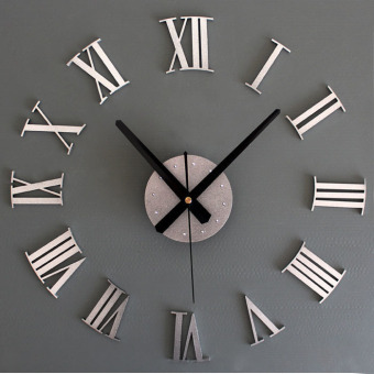 DIY Luxury 3D Wall Clock Large Size Home Decoration Art Clock (Silver) Price Philippines