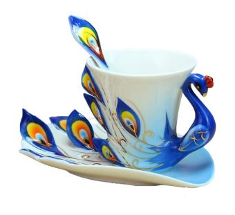 Harga ooplm Peacock Mugs Hand Crafted China Enamel Porcelain Tea Mug Coffee Cup Set with Spoon and Saucer (Blue)