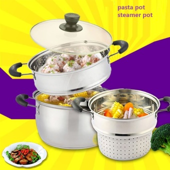 cooking steamer pot pasta pot stainless steel multi-function cooking pot stock pot - Intl Price Philippines