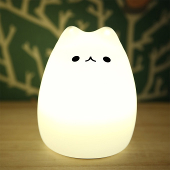 Harga Multicolor Silicone LED Night Light Cute Cat Night Lamp USB