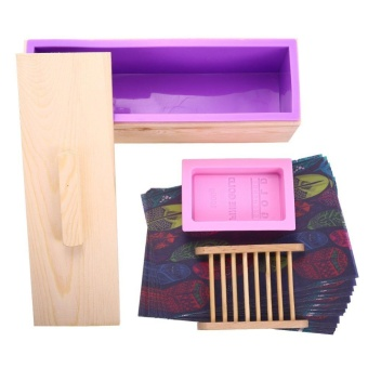 Harga Silicone Rectangular DIY Soap, Candle, Toast, Jelly, Pudding with Wooden Mold Box Homemade Silicone, 1 double hole wooden box +1 purple toast + 1 gold brick soap mold +1 soap stand +20 oil paper - intl