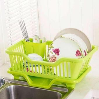Harga New 2017 Best Quality Kitchen Dish Drainer Drying Rack Holder Organizer Tray (Green)