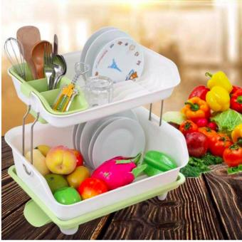 Harga New 2017 Best Quality 2 Layer Multifunctional Kitchen Dish Rack- Green