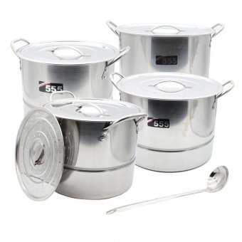 555 High-Quality Stainless Steel 4 in 1 Stockpots-Steamer Cookware Set. with free Laddle Price Philippines