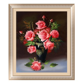 Harga 5D Rose Flower DIY Diamond Painting Cross Stitch Embroider Pink