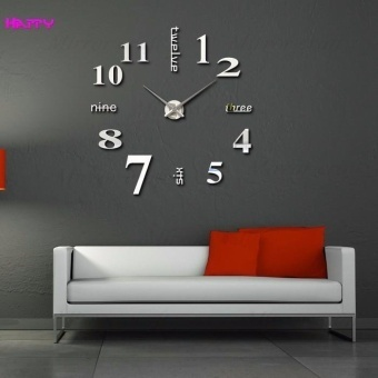 Fashion Home Decoration 3D Diy Wall Clock - Silver - intl Price Philippines