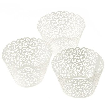 Harga 100 Filigree Little Vine Lace Laser Cut Cupcake Wrapper Liner Baking Cup (White)