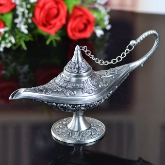 Harga Vintage tea pot home decoration pewter plated craft retro gifts Ala ddin Lamp