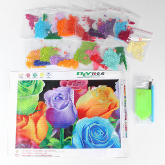 Harga 5D DIY Handmade Rose Flower Diamond Painting Cross Stitch Embroidery Kit Home - Intl