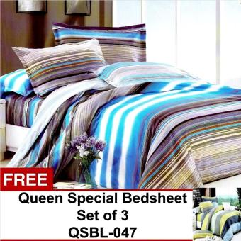 Harga Queen Special Linen Collection Bedsheet Set of 3(QSBL-046)Queen with free Queen Special Linen Collection Bedsheet Set of 3(QSBL-047)Queen