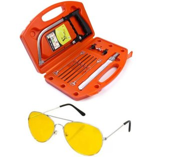 Harga Magic Saw Multipurpose Magic Saw DIY Handy Saw 8 Blades(Red) with Night View Glasses (Yellow)
