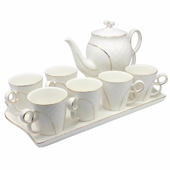 Unicorn Elegant Porcelain Western Style Coffee & Tea Set with Tray Gold Lining (White) Price Philippines